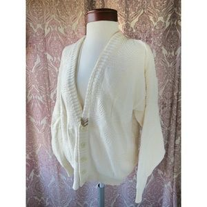 Vintage Fisherman Ivory Chunky Knit Fall Cardigan